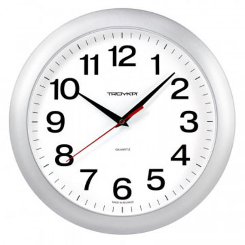 Часы настенные Troyka, модель01, диаметр 290мм,  пластик 11170100 серебро