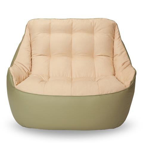 Бескаркасный диван «Босс», Оливка и бежевый
