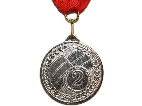 Медаль наградная с лентой за 2 место. Диаметр 5 см. МТ853-2
