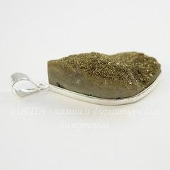 Подвеска Кварц в рамке (цвет - античное серебро) 38,6х21,5х12,6 мм №7