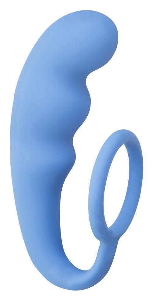Голубое эрекционное кольцо с анальным стимулятором Mountain Range Anal Plug