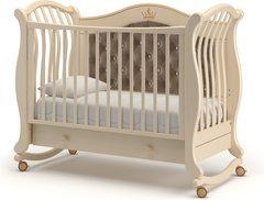Кровать детская Габриэлла Люкс Плюс колесо-качалка, ящик слоновая кость