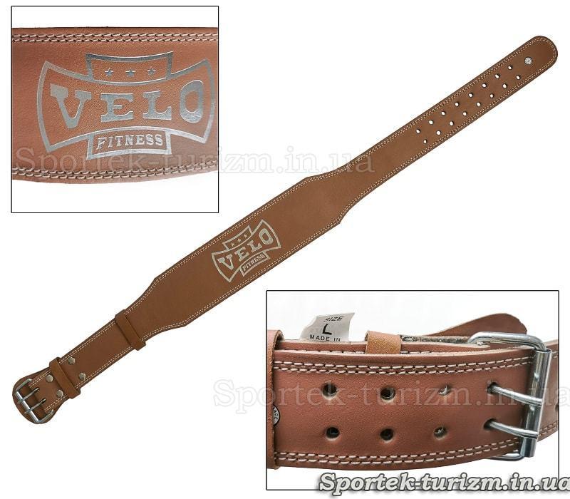 Кожаный атлетический пояс VELO с подкладкой для спины, широкая часть 10 см