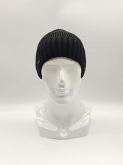 Мужская трикотажная шапка по голове, с отворотом, классика, черная