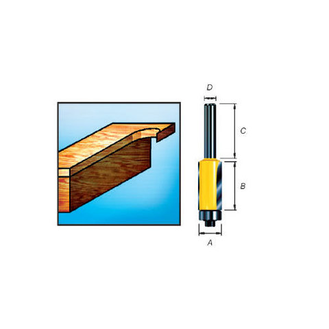 Фреза для окантовки с подшипником и двумя режущими кромками 12,7*32*12,7*8 мм
