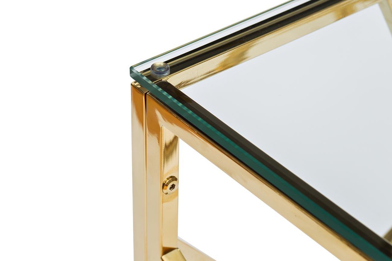 GY-ET2051214GOLD Стол журнальный прозр.стекло/золото 50*50*50см
