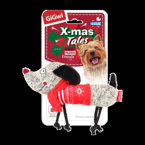 GiGwi Кристмасс Игрушка для собак Собачка с пищалкой
