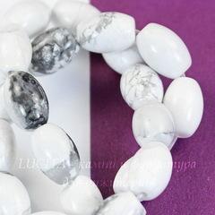 Бусина Говлит, овал, цвет - белый, 9х6 мм, нить