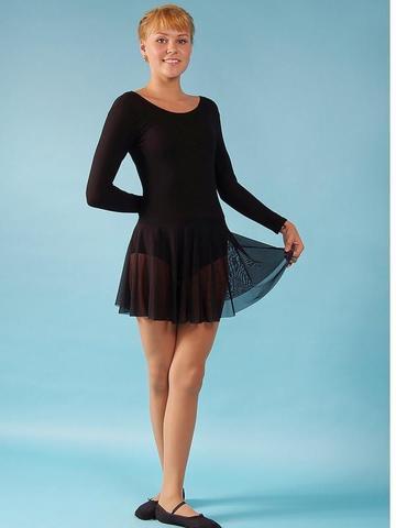 Купальник гимнастический с юбкой из сетки ALIERA  арт.Г 3.03 (черный)