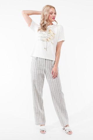 Фото летние льняные белые брюки в полоску с карманами с отрезным бочком - Брюки А503-131 (1)
