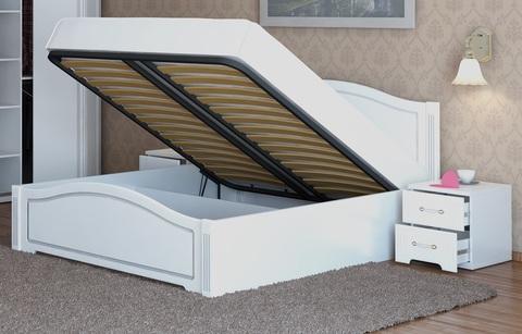 Кровать двуспальная Виктория 5 с подъемным механизмом Ижмебель 160х200 белый глянец