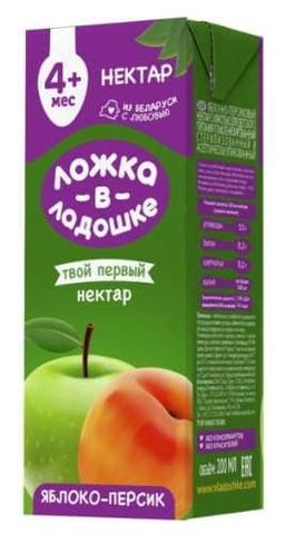 Нектар Яблоко-персик с мякотью 200 мл. Ложка в ладошке