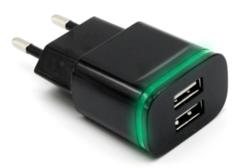 Адаптер/зарядной устройство USB 2.1/1.0А со светодиодом