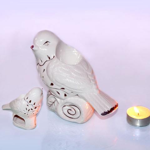 Аромалампа  Птичка Белая с золотом
