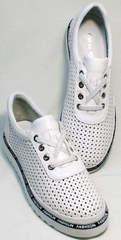 Летние кожаные туфли кроссовки городской стиль жпенские Evromoda 215.314 All White.