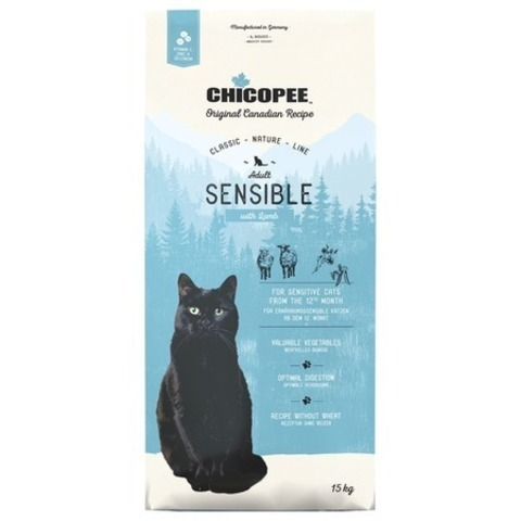 15 кг. Chicopee CNL Cat Adult Sensible сухой корм для кошек с чувствительным пищеварение с ягненком