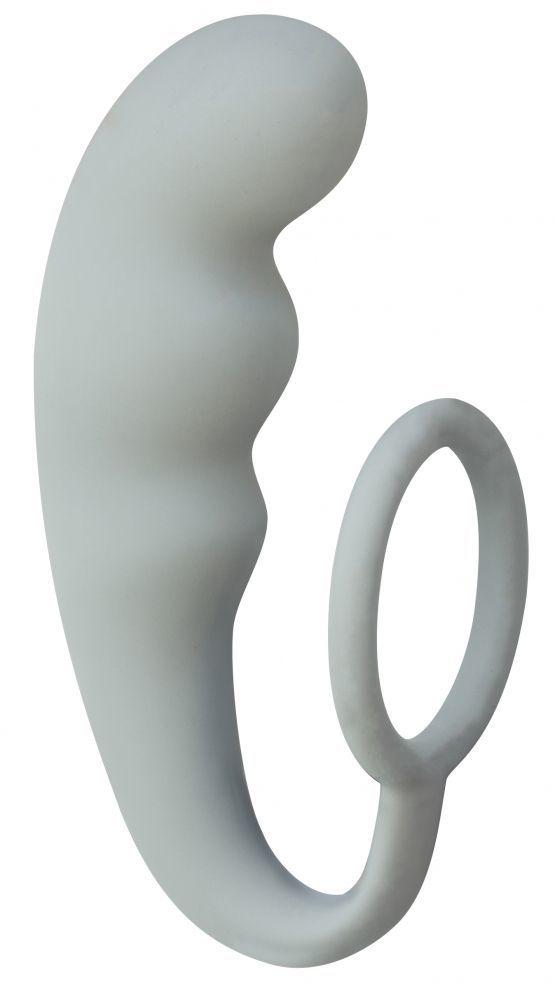Серое эрекционное кольцо с анальным стимулятором Mountain Range Anal Plug