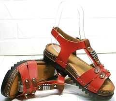 Красные кожаные босоножки сандали женские модные Rifellini Rovigo 375-1161 Rad.