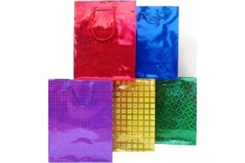 Подарочные пакеты 32х45х11 голографический