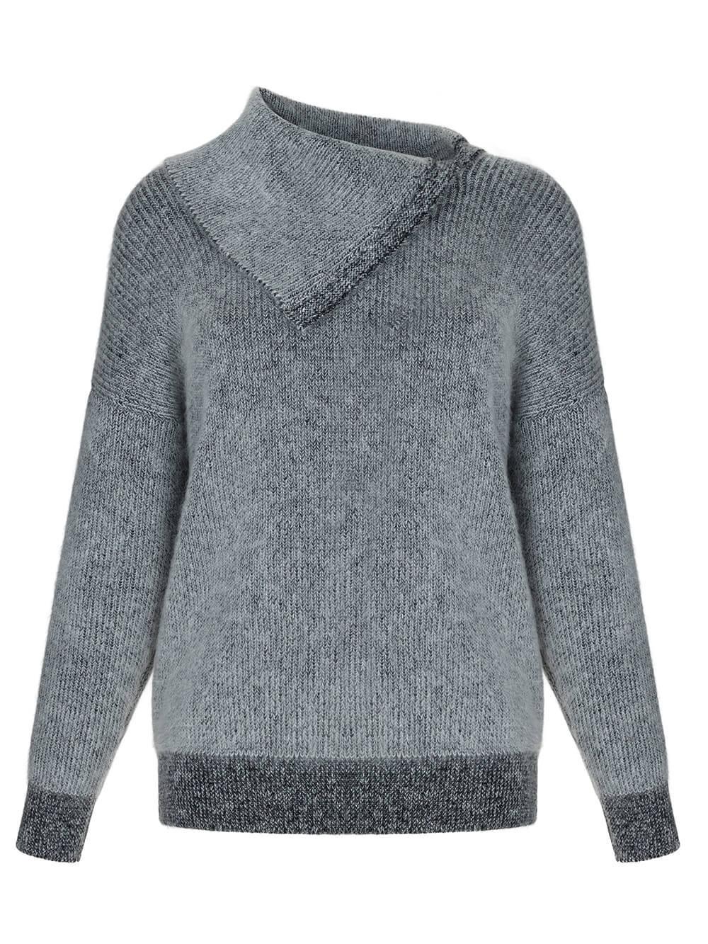 Женский свитер серого цвета из мохера и кашемира - фото 1