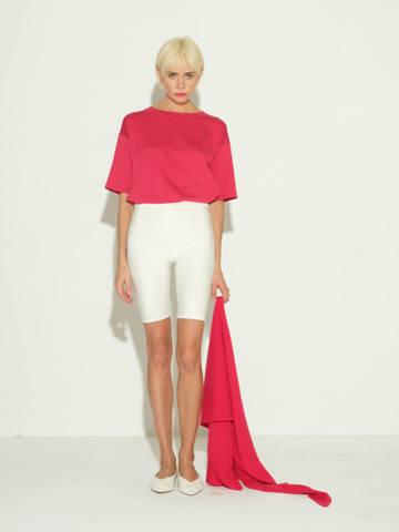 Женские шорты молочного цвета из 100% шелка - фото 3