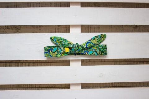 Повязка на голову (солоха) зеленая с синим пейсли