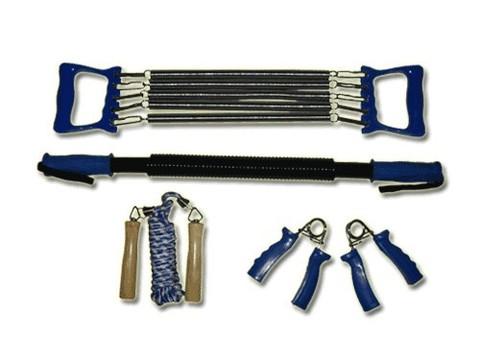 Набор фитнес: эспандеры кистевые - жёсткая ручка, плечевой 5 пружин - пластиковые ручки, скакалка: шнур резин.- деревянные ручки, эспандер-палка пружина (4 предмета) :(4081):