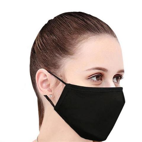 Маска защитная многоразовая текстильная черная (12 штук в упаковке)