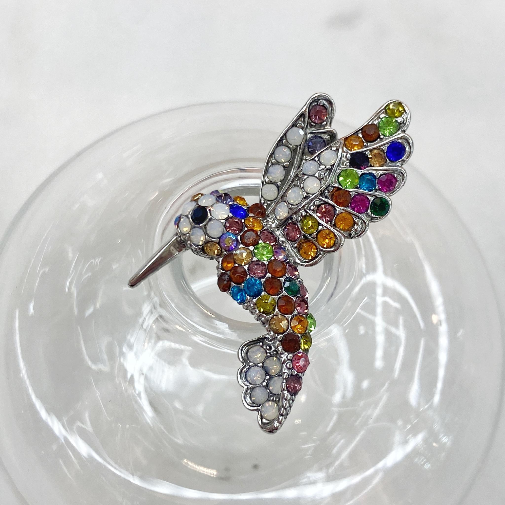 Брошь Птица Колибри фианиты мультицвет