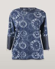 Блузка Katex туника часы трикотаж кож.отделка