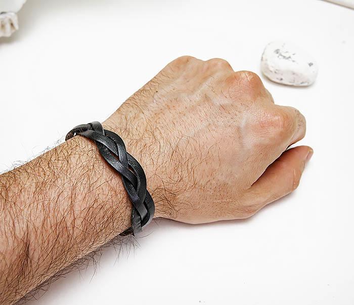 BL796-1 Мужской плетеный браслет из черной кожи фото 05