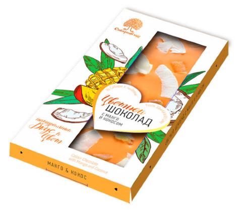 Шоколад цветной с манго и кокосом / 100 г