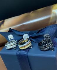28022- Тройное кольцо с булавкой  из серебра с фианитами