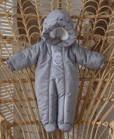 Зимний комбинезон для новорождённых King серый