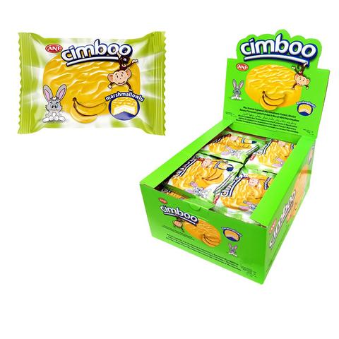 CIMBOO  Бисквитное печенье с начинкой MARSHMALLOW в глазури (Банан) 1кор*6бл*24шт,50 г