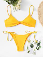купальник бикини желтый с лямками твист Yellow Twist 1
