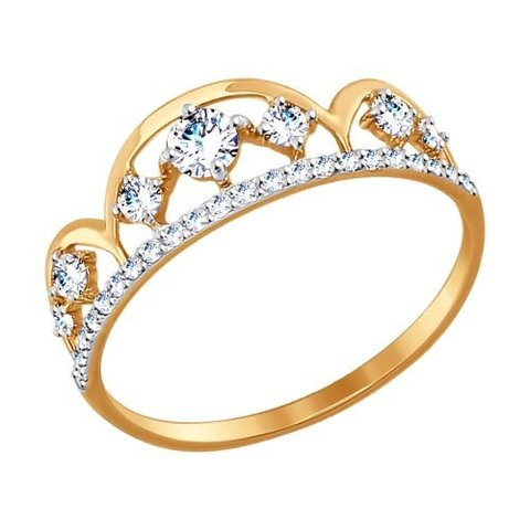 017414- Кольцо из золота с фианитами