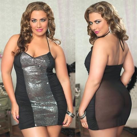 Прозрачное сзади платье с блестящей вставкой спереди (BS)