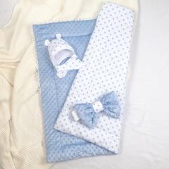 СуперМамкет. Конверт-одеяло с бантом и шапочкой Звездочки голубой вид 3