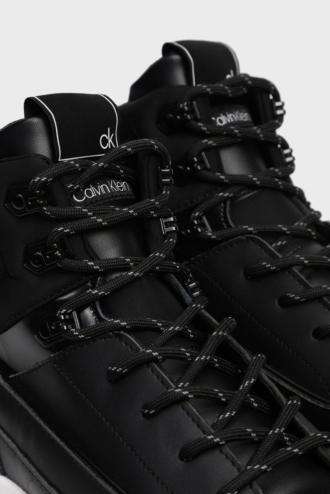 Мужские черные кожаные хайтопы CADO Calvin Klein