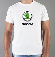 Футболка с принтом Шкода (Skoda) белая 003