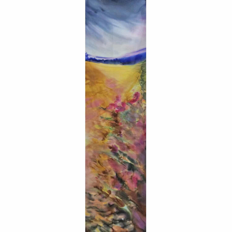 Шелковый шарф батик Цветочная поляна
