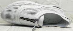 Перфорированные кроссовки из натуральной кожи женские Wollen P029-259-02 All White.