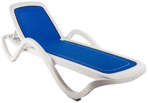 Пластиковый шезлонг CAPRI с тканью белый/синий