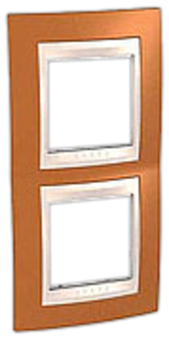 Рамка на 2 поста. Цвет вертикальная Оранжевый/Белый. Schneider electric Unica Хамелеон. MGU6.004V.869