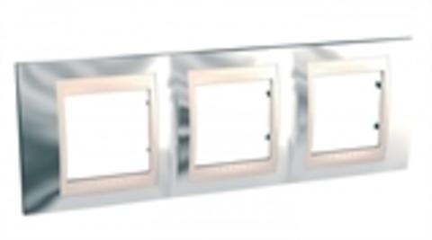 Рамка на 3 поста. Цвет Серебро/Бежевый. Schneider electric Unica Хамелеон. MGU66.006.510