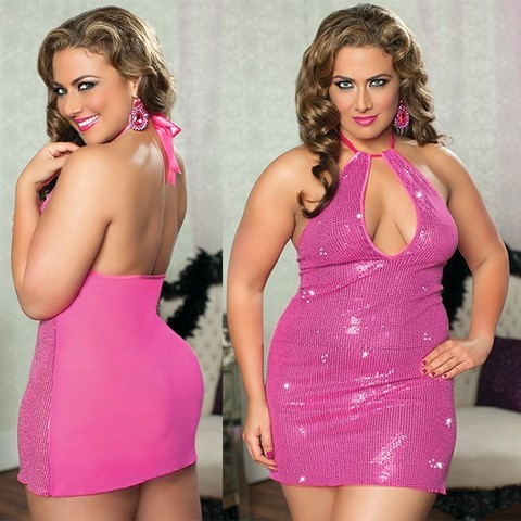 Прозрачное сзади платье с пайетками спереди (BS)