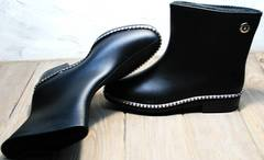 Черные резиновые сапоги модные женские Hello Rain Story 1019 Black.