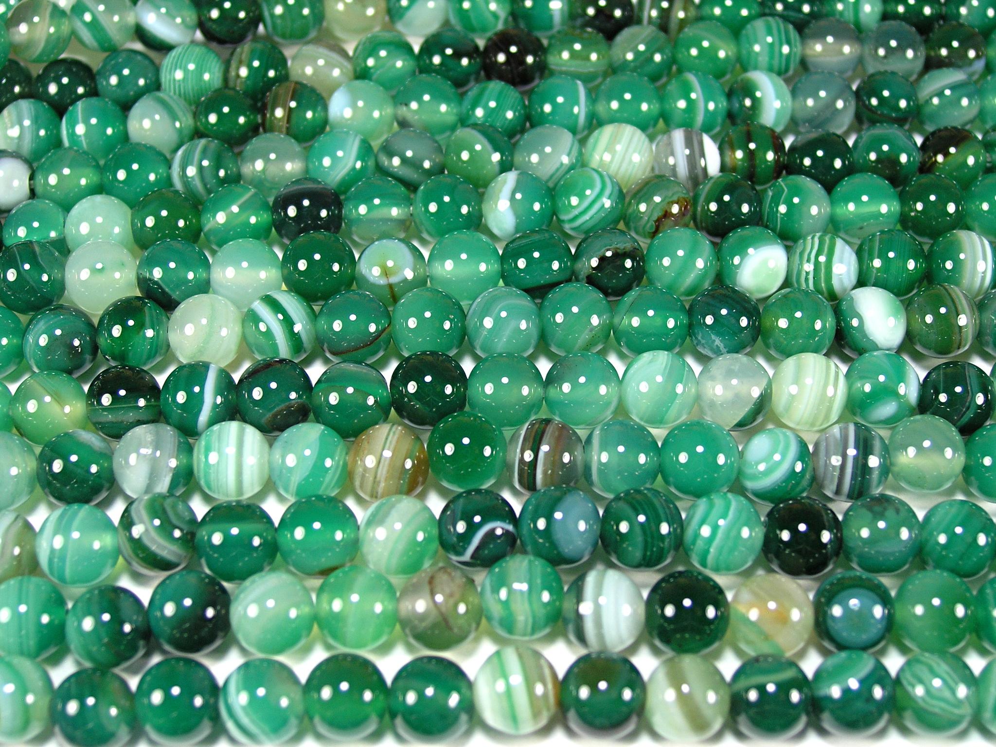 Нить бусин из агата зеленого (термо обработанного), шар гладкий 8мм