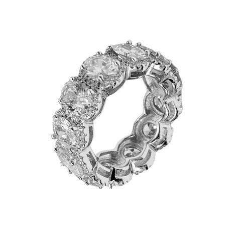 70455 - Широкое кольцо-дорожка из серебра с овальными цирконами